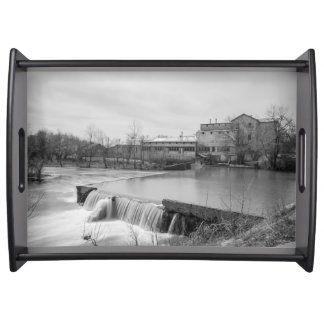 Spring Day At Ozark Mill Grayscale Serving Tray