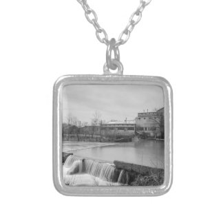 Spring Day At Ozark Mill Grayscale Silver Plated Necklace