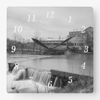 Spring Day At Ozark Mill Grayscale Square Wall Clock