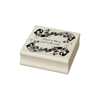 Spring Dogwood Blossoms Christ is Risen Rubber Stamp