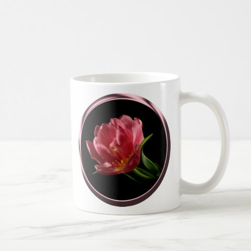 Spring Double Bloom Tulip Coffee Cup Basic White Mug
