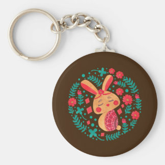 Spring Easter Bunny Basic Round Button Keychain