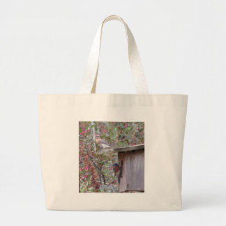 Spring Eastern Bluebirds Canvas Bags