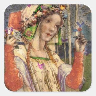 Spring Fairyland Square Sticker