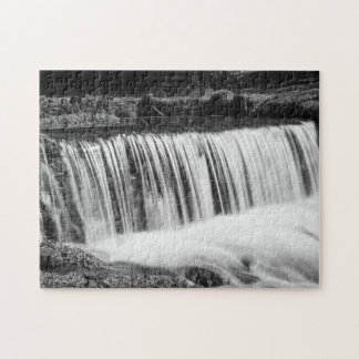 Spring Falls At Hodgson Grayscale Jigsaw Puzzle