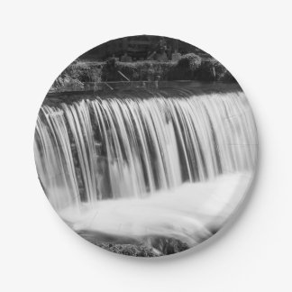 Spring Falls At Hodgson Grayscale Paper Plate