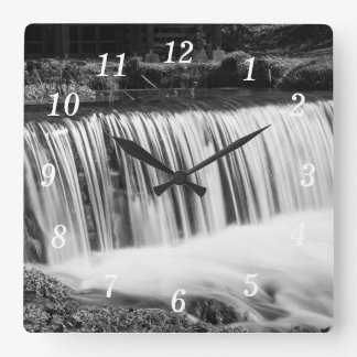Spring Falls At Hodgson Grayscale Square Wall Clock
