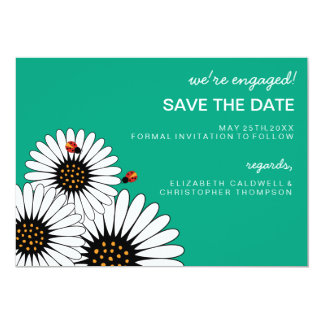 Spring Fling Gerbera Daisies SAVE THE DATE-green Card