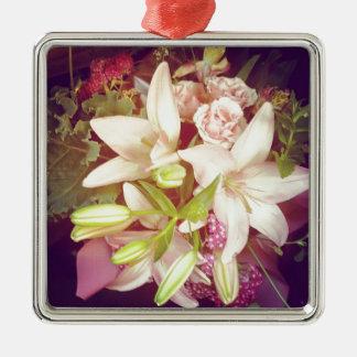 Spring Floral Boquet Silver-Colored Square Decoration