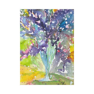 Spring floral bouquet watercolor painting canvas print