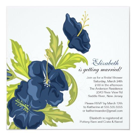 Spring Floral Bridal Shower Invitation Navy Blue