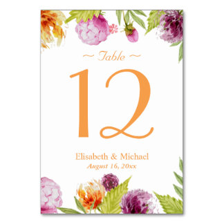 Spring Floral Elegant Chic Wedding Table Number Table Cards