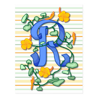 Spring Floral Elegant Initial Cards and Postage Post Card