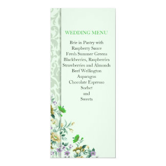 Spring Floral Green Damask Wedding Menu 10 Cm X 24 Cm Invitation Card