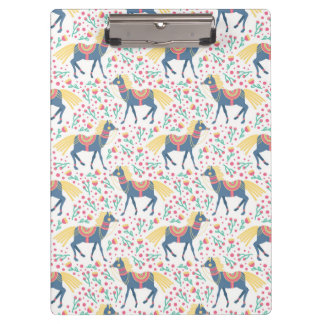 Spring Floral Horses Vector Seamless Pattern Clipboard