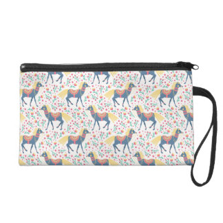 Spring Floral Horses Vector Seamless Pattern Wristlet