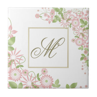 Spring Floral Monogram ID190 Small Square Tile