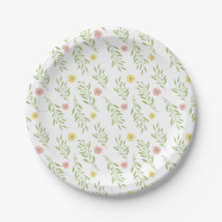 Spring Floral Pattern Paper Plate