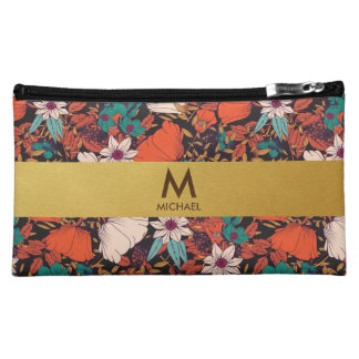 Spring Floral Red & Golden Monogram Cosmetic Bag