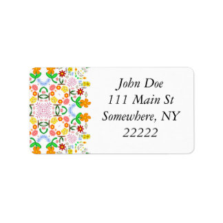 Spring Floral Repeat Pattern Address Label
