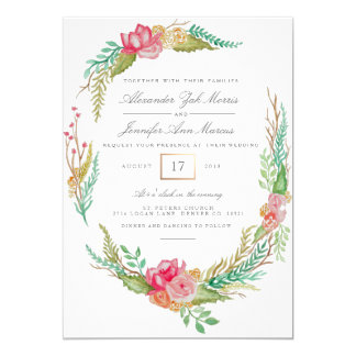 Spring Floral Watercolor   Wedding Card