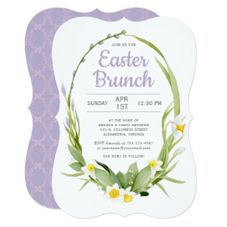 Spring Floral Wreath Easter Brunch or Party Card