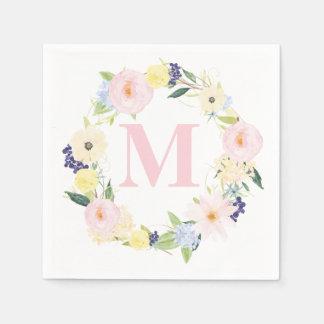 Spring Floral Wreath Monogram Wedding Napkins Disposable Serviettes