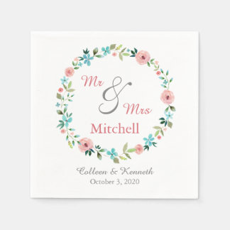 Spring Floral Wreath Wedding Disposable Napkins