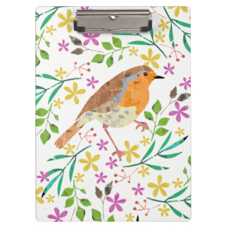 Spring florals and robin bird clipboard