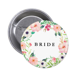 Spring Florals Bride Bridal Party Wedding 6 Cm Round Badge