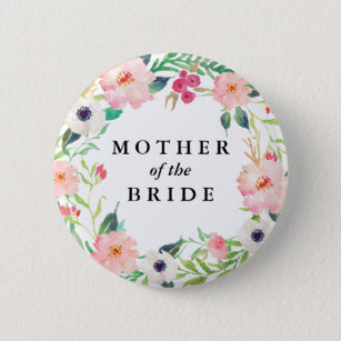 Spring Florals Mother of the Bride Wedding 6 Cm Round Badge