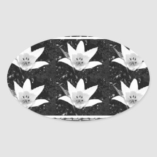 Spring Flower based Pattern Graphic Deco Art Gifts Oval Sticker