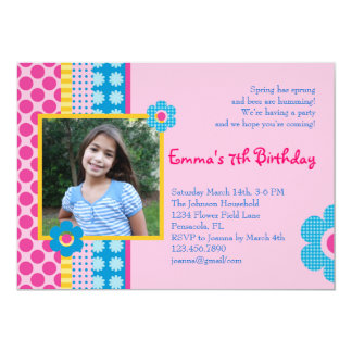 Spring Flower Girl Birthday Photo Invitation