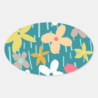 spring flower meadow oval sticker