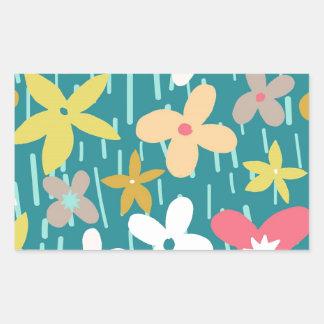 spring flower meadow rectangular sticker