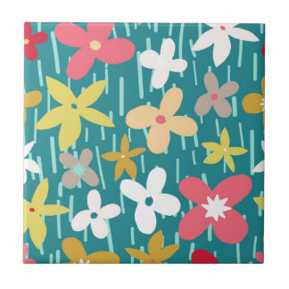 spring flower meadow small square tile