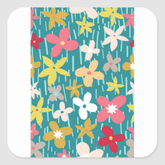 spring flower meadow square sticker