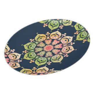 Spring Flower on Indigo Blue Plate