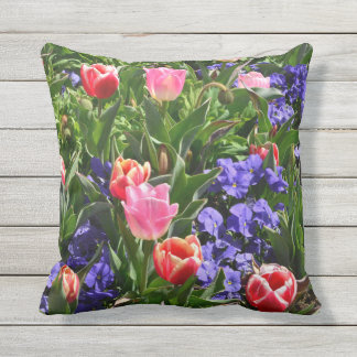 Spring flower outdoor throw pill outdoor cushion