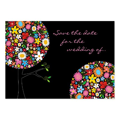 Spring Flower Pop Tree Mini Save Date Profile Card Business Card Templates