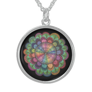 Spring Flower Sterling Silver Round Necklace