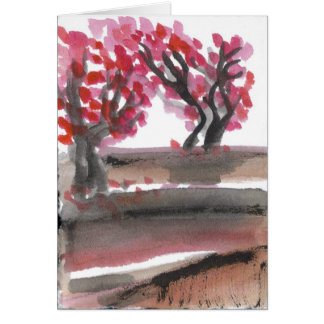 Spring Flowering Cherry Trees Card