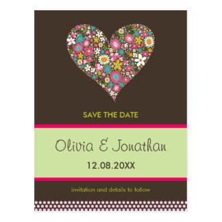 Spring Flowers 2 Heart 01 Save The Date Postcard