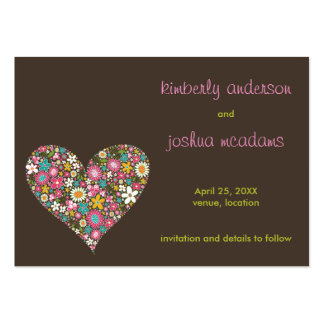 Spring Flowers 2 Heart Mini Save The Date Card / Business Card Template