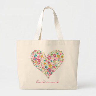 Spring Flowers 2 Heart Wedding Bridal Custom Bag