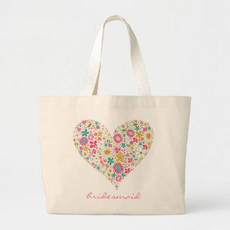 Spring Flowers 2 Heart Wedding Bridal Custom Bag