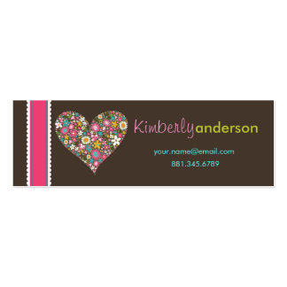Spring Flowers 2 Valentine Heart Love Profile Card Business Card Template
