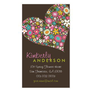 Spring Flowers 2Valentine Love Heart Profile Card Business Card Template