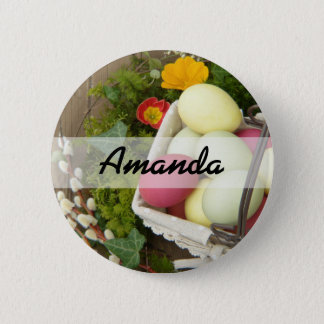 Spring Flowers and Basket of Easter Eggs 6 Cm Round Badge