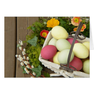 Spring Flowers and Basket of Easter Eggs Card